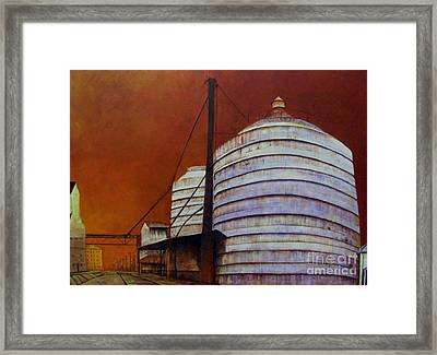 Silos With Sienna Sky Framed Print