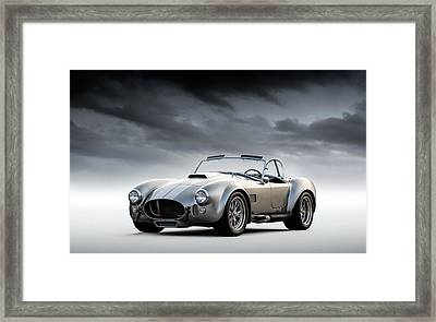 Framed Print featuring the digital art Silver Ac Cobra by Douglas Pittman