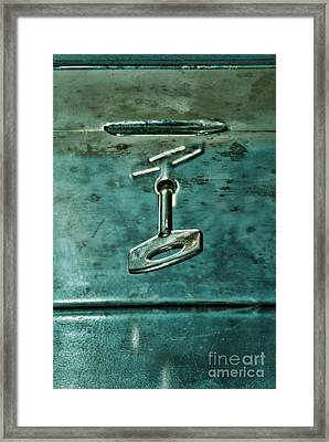Silver Box With Key In The Lock Framed Print by HD Connelly