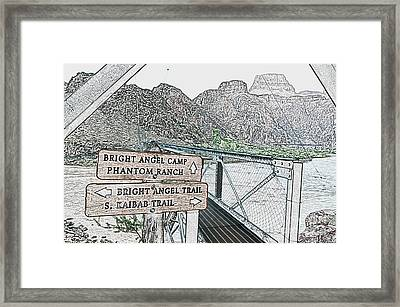Silver Bridge Signs Over Colorado River At Bottom Of Grand Canyon National Park Colored Pencil Framed Print