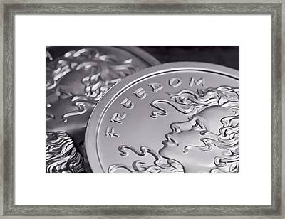 Silver Bullion Freedom Girl Framed Print by Tom Mc Nemar