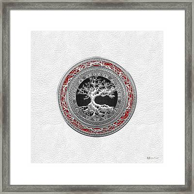 Silver Celtic Tree Of Life On White Leather Framed Print by Serge Averbukh