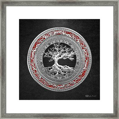 Silver Celtic Tree Of Life Framed Print by Serge Averbukh