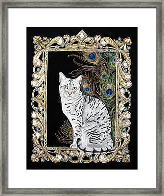 Framed Print featuring the painting Silver Egyptian Mau by Leena Pekkalainen