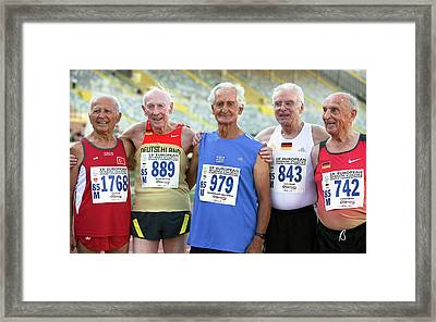 Silver-haired Athletes In Their Late 80s Framed Print