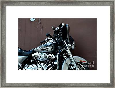 Silver Harley Motorcycle Framed Print by Imran Ahmed