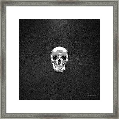 Silver Human Skull On Black Leather Framed Print by Serge Averbukh