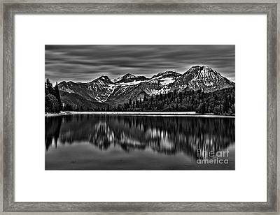 Silver Lake Reflection Black And White Framed Print