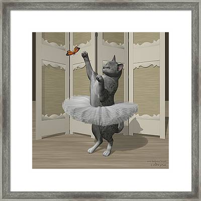 Silver Mau Ballet Cat On Paw-te Framed Print by Andre Price