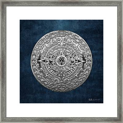 Silver Mayan-aztec Calendar On Blue Framed Print by Serge Averbukh