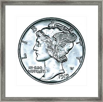 Silver Mercury Dime Framed Print by Fred Larucci