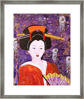 Framed Print featuring the painting Silver Moon Geisha by Jane Chesnut