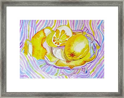 Silver Plate With Lemons Framed Print by Elena Mahoney