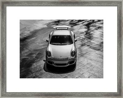 Framed Print featuring the digital art Silver Porsche 911 Gt3 by Douglas Pittman