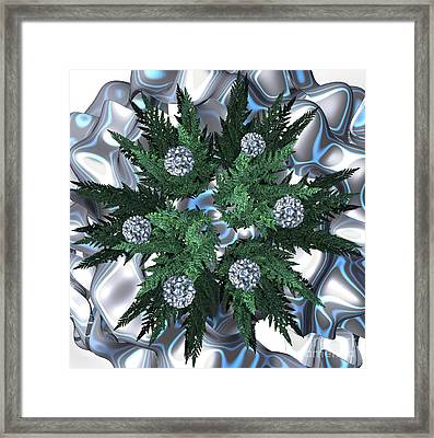 Silver Snow Wreath By Jammer Framed Print by First Star Art