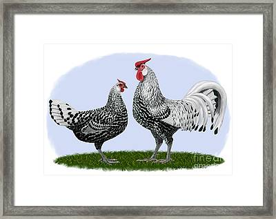 Silver Spangled Hamburg Rooster And Hen Framed Print