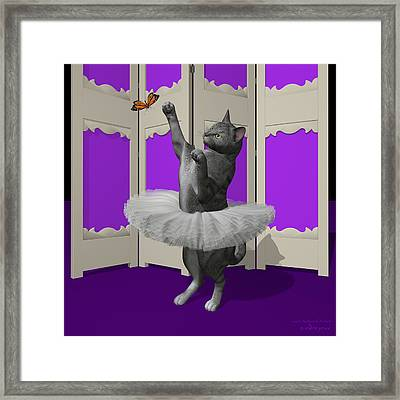 Silver Tabby Ballet Cat On Paw-te Framed Print by Andre Price