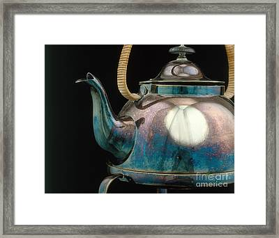 Silver Tarnish On Kettle Framed Print by James L. Amos