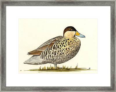 Silver Teal Framed Print by Juan  Bosco