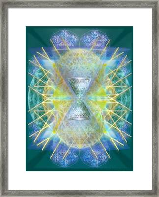 Silver Torquoise Bright Chali-cell-ring Flower Of Life Matrix Framed Print