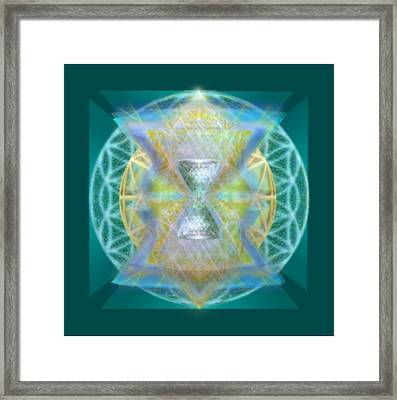 Silver Torquoise Chalice Matrix II Subtly Lavender Lit On Gold N Blue N Green With Teal Framed Print