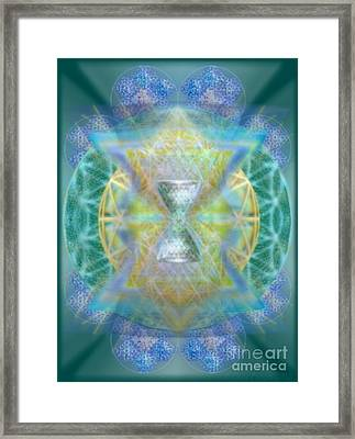 Silver Torquoise Chalicell Ring Flower Of Life Matrix Framed Print