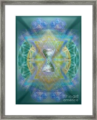 Silver Torquoise Chalicell Ring Flower Of Life Matrix II Framed Print