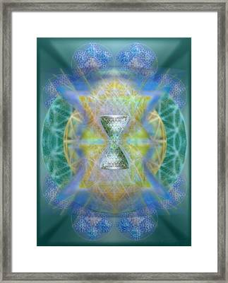Silver Torquoise Chalicell Ring Flower Of Life Matrix IIi  Framed Print