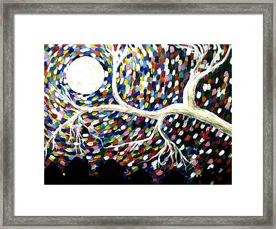 Silver Tree At Night Framed Print by Beril Sirmacek