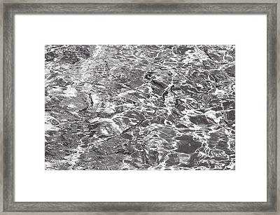 Silver Water Abstract. Feng Shui Framed Print by Jenny Rainbow