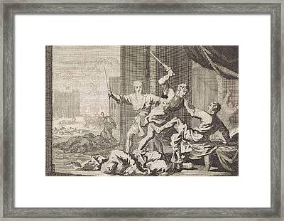 Simeon And Levi Kill The Shechemites, Jan Luyken Framed Print by Jan Luyken And Pieter Mortier