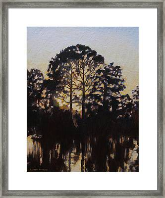 Framed Print featuring the painting Simmering Sun by Andrew Danielsen