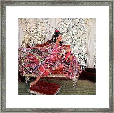 Simone D'aillencourt Wearing A Poncho By Emilio Framed Print