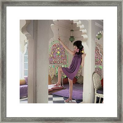 Simone D'aillencourt Wearing A Purple Shift Framed Print