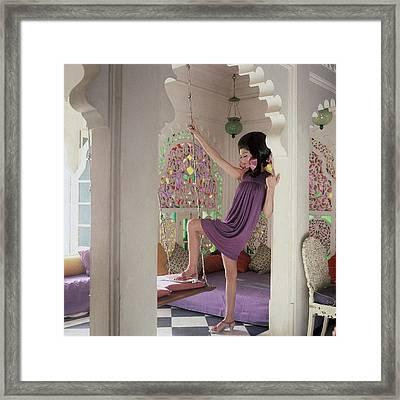 Simone D'aillencourt Wearing A Purple Shift Framed Print