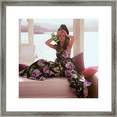 Simone D'aillencourt Wearing Seraglio Pajamas Framed Print