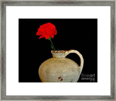 Simple Carnation In Pottery Framed Print by Marsha Heiken