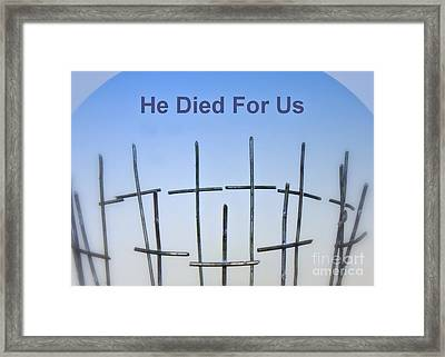Simple Cross Framed Print by Renee Trenholm