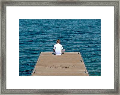 Simple Fishing W/scripture Framed Print