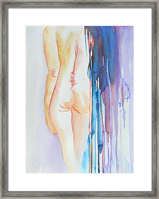 Simple Nude With Abstract Veil Framed Print by Beverley Harper Tinsley