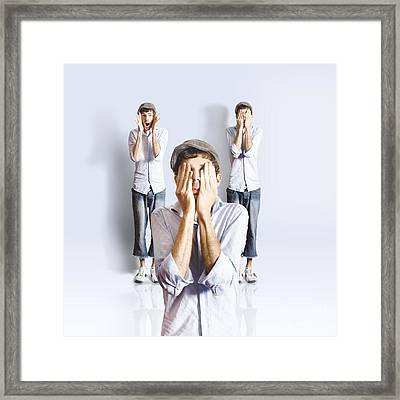 Simple Simon Playing Peek A Boo Framed Print