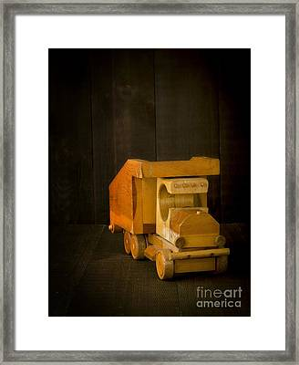 Simpler Times - Old Wooden Toy Truck Framed Print by Edward Fielding