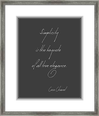 Simplicity And Elegance Framed Print