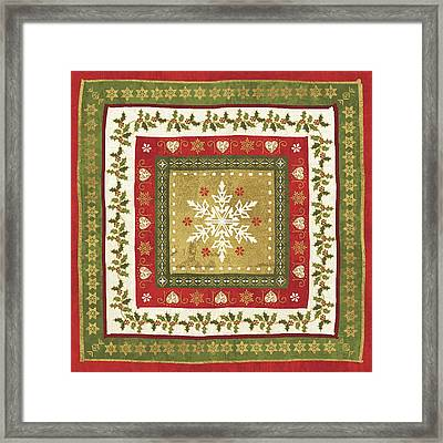 Simply Christmas Tiles I Framed Print by Veronique Charron