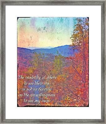 Sin Framed Print by Michelle Greene Wheeler