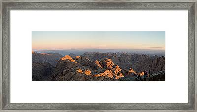 Framed Print featuring the pyrography Sinai Mountains Just After Sunrise by Julis Simo