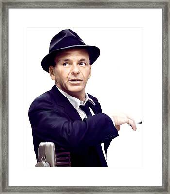Sinatra.  Frank Sinatra Framed Print by Iconic Images Art Gallery David Pucciarelli