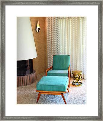 Sinatra Blue Chair Sinatra House Palm Springs Framed Print by William Dey