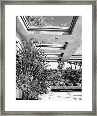 Sinatra Patio Bw Palm Springs Framed Print by William Dey