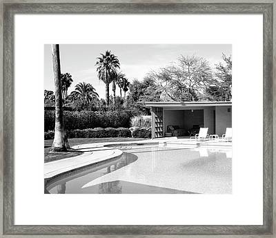 Sinatra Pool And Cabana Bw Palm Springs Framed Print by William Dey